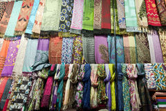 Many Scarfs Made From Silk. Royalty Free Stock Photo