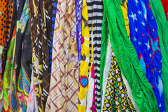 Many scarves. Scarves in many colors.Nice background Stock Image