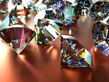 Many scattered gems. With reflections and caustics Stock Photography