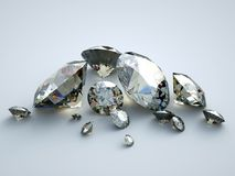 Many scattered gems. A group of various gems with ideal proportions and refractions Stock Photos