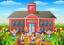 Many school children in front of school building. Illustration of Many school children in front of school building Royalty Free Stock Images