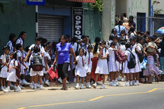Many school children waiting for the school bus. Kalutara, Sri Lanka - April 4, 2011: Many school children waiting for the school bus, in Kalutara, Sri Lanka Royalty Free Stock Photo