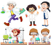 Many scientists doing experiment. Illustration stock illustration