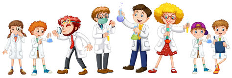 Many scientists and students in white gown Royalty Free Stock Image