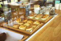 Many scones in coffee shop Stock Photos