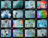 Many screens. Abstract image on the theme computers, the Internet and high-tech Royalty Free Stock Image