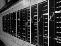 Forex trading multiple charts background in black and white. Many screens of Forex trading multiple charts background in black and white stock image