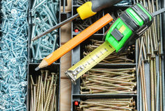 Many screws in plastic organizer box, work tools. Many screws in plastic organizer box top view Stock Image