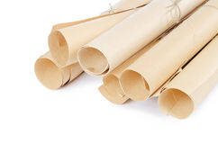Many scrolls of paper. Many ancient scrolls on white background Royalty Free Stock Photos
