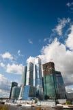 Many scyscrapers of Moscow city under blue sky Royalty Free Stock Photo