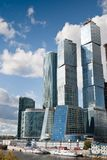 Many scyscrapers of Moscow city under blue sky Stock Images