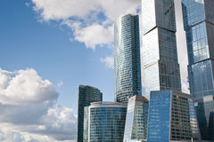 Many scyscrapers of Moscow city under blue sky Stock Photo