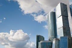 Many scyscrapers of Moscow city under blue sky Royalty Free Stock Photos