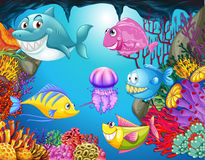 Many sea animals in the ocean royalty free illustration