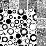 Many seamless black and white patterns. Retro black and white seamless backgrounds Stock Photo
