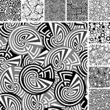 Many seamless black and white patterns. Retro black and white seamless wallpapers Royalty Free Stock Images