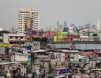 Many shacks on street in Manila, Philippines Royalty Free Stock Photos