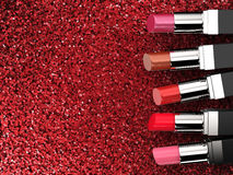 Many shades of lipsticks Stock Images