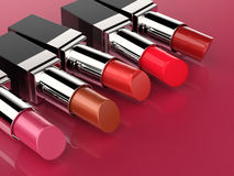 Many shades of lipsticks. 3d rendering five shades of lipstick royalty free stock image