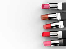 Many shades of lipsticks. 3d rendering five shades of lipstick stock photography