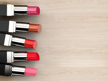 Many shades of lipsticks. 3d rendering five shades of lipstick stock image