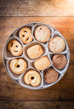 Many shapes cookie in the box Royalty Free Stock Photo