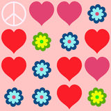Many shapes of heart, flowers and  peace symbol Royalty Free Stock Image