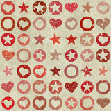Many shapes of heart, stars and circle on grunge backgrounds Royalty Free Stock Images