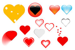 Many shapes of hearts Royalty Free Stock Images