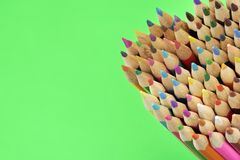 Many Sharp Color Pencil On The EmptyGreen Blank Background Royalty Free Stock Photos
