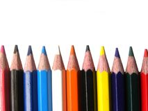 Many sharpened color pencils. On white background stock photo