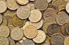 Many of shiny coins of yellow metal Royalty Free Stock Photo