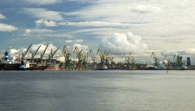 Many ships in the harbour of Klaipeda (Lithuania) Stock Images