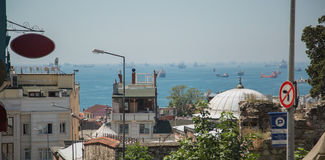 Many ships in the sea. Strait of Bosporus. Turkey, Istanbul royalty free stock images