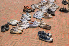Many shoes. On floor royalty free stock images