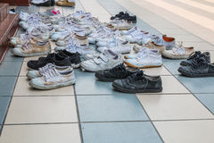 Many shoes. On floor royalty free stock photography