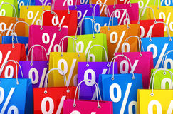 Many shopping bag and percent Stock Images