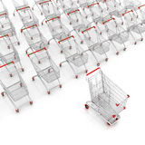 Many shopping carts. 3d render vector illustration