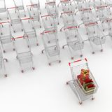 Many shopping carts Royalty Free Stock Photos