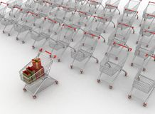 Many shopping carts Royalty Free Stock Photography