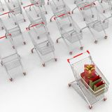 Many Shopping Carts. 3d render. Royalty Free Stock Photo