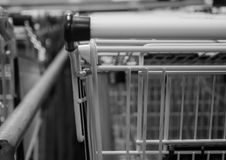 Many shopping carts of a supermarket Stock Images