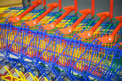Many shopping colorful shopping trolleys Royalty Free Stock Photo