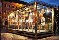 Many shopping women on exhibition window Stock Image