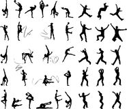 Many silhouettes of people. In action stock illustration