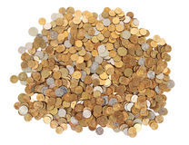 Many Silver And Golden Coins Isolated Stock Image