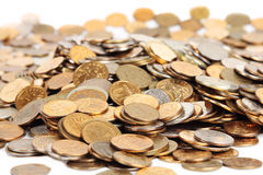 Many Silver And Golden Coins Isolated Royalty Free Stock Images