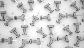 Many silver push pins concept Royalty Free Stock Image