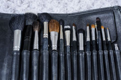 Many size of cosmetic brush for makeup artist. Many size of cosmetic brush for the makeup artist royalty free stock images