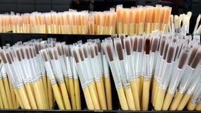 Many size of paintbrushes in box royalty free stock photos